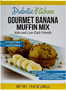 Diabetic Kitchen Low Carb Muffin Mixes - Keto Friendly Banana Muffins - No Sugar Added, 15g Fiber, Gluten Free, Non-GMO, N...