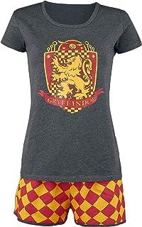 HARRY POTTER Gryffindor Quidditch Mujer Pijama Gris/Rojo/Amarillo, elastischer Bund, Tunnelzug