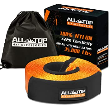 ALL-TOP 100% Nylon Recovery Snatch Strap - 3 inch x 30 ft - Heavy Duty Towing Strap (35,000 lbs) with 22% Elongation - Triple Reinforced Loop Adjustable Protector Sleeve