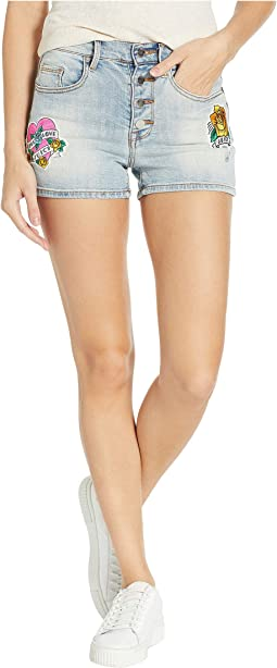 Tattoo Patch Denim Shorts