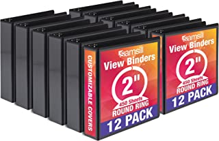 Samsill Economy 3 Ring View Binder, 2 Inch Round Ring – Holds 450 Sheets, PVC-Free / Non-Stick Customizable Cover, Black, 12 Pack