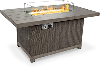Amazon Com Best Choice Products 52in 50 000 Btu Wicker Propane Fire Pit Table W Aluminum Tabletop Glass Wind Guard Storage Cover Glass Beads Easy Access Tank Cabinet Garden Outdoor