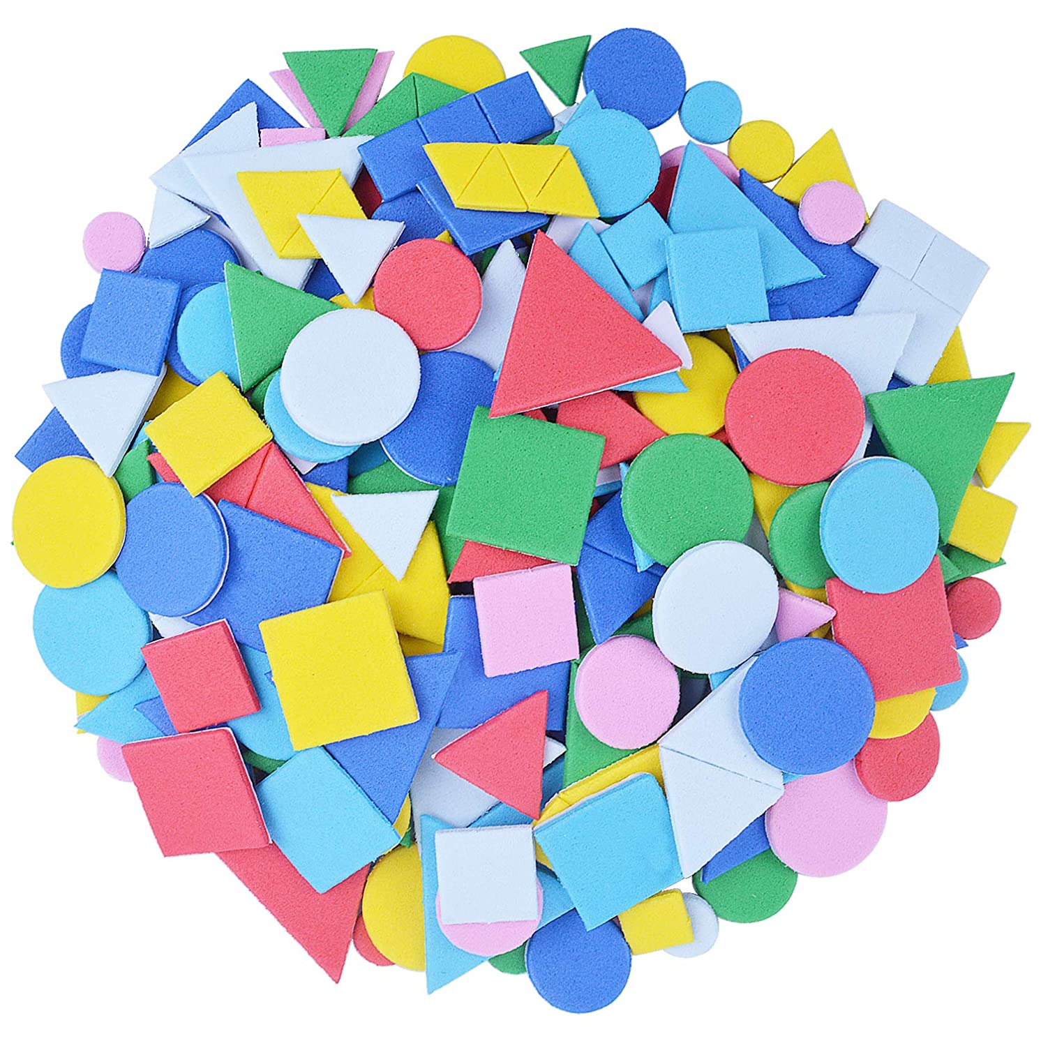 BronaGrand 15g Small Geometry Stickers Self Adhesive EVA Foam Sticker for Creative Crafts and Arts Making, Assorted Colors(Approx.250 Pieces)