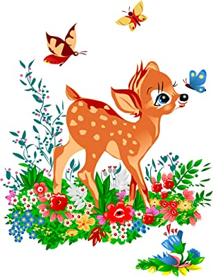 Prodecals Wall Sticker for Living Room Little Deer in Flower Garden (Wall Covering Area : 55 X 70 cms, Multicolour)