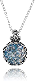 Paz Creations .925 Sterling Silver Roman Glass Pendant Necklace