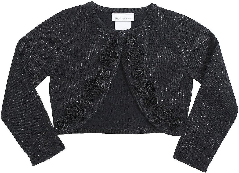 Bonnie Jean Little Girls 2T-6X Beaded Bonaz Rosette Metallic Knit Sweater
