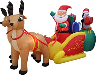 JUMBO 13 Foot Long Christmas Inflatable Santa Claus and Penguin with Gift in Sleigh Pulled by 2 Reindeer Lights Lighted Blowup Party Decoration for Outdoor Indoor Home Garden Family Prop Yard