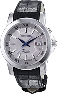 Seiko premier SNQ143 42mm Stainless Steel Case Black Calfskin Hardlex (used for Seiko only) Men's Watch