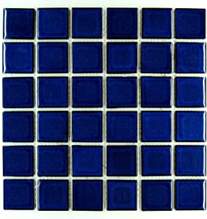 Premium Quality Cobalt Blue Porcelain Square Mosaic Tile Shiny Look 2x2 Inch (Box of 21.76 Sq Ft)