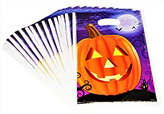 Halloween Treat Bags for Trick or Treat - Kids Party Favor Candy Goodie Bags Pumpkin Plastic Bulk 100 Pack