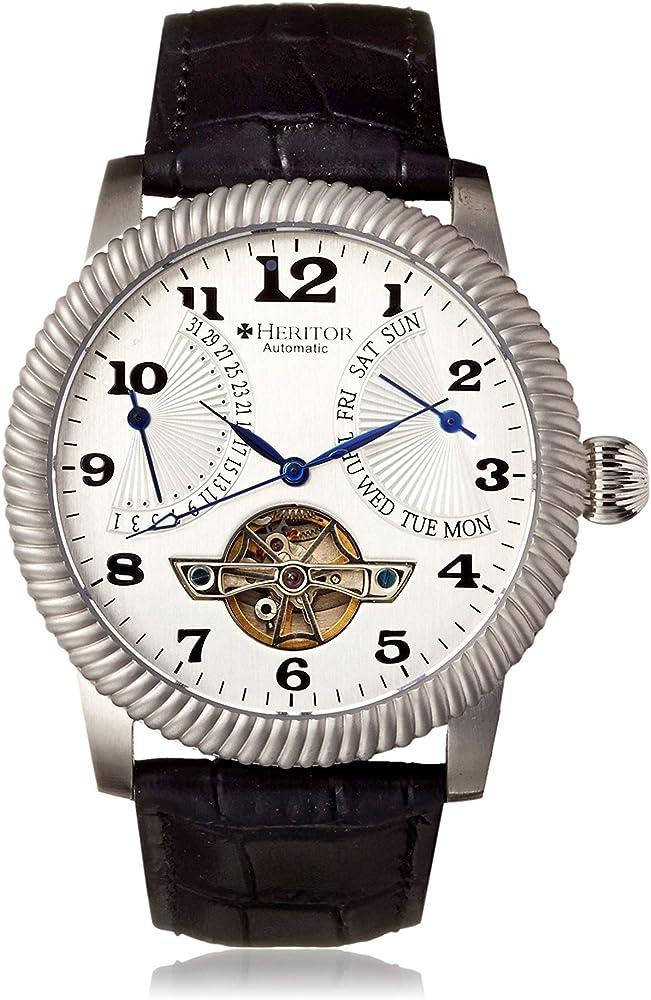 Heritor automatic,orologio,cronografo per uomo,in acciaio inossidabile l 316,cinturino in coccodrillo HERHR2001