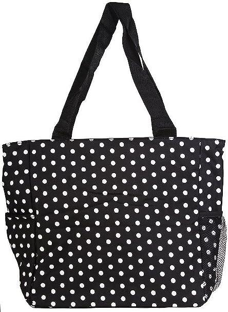 Polka Dot Tote Bag Market Beach Bag Red White Dotty Retro Bag Shoulder Bag Large Purse