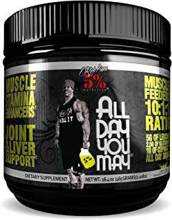 Rich Piana 5% Nutrition All Day You May BCAA & Joint Recovery Drink (Lemon-Lime) 17.2oz (465g) 30 Servings