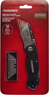 Husky Black Sure-Grip Folding Lock-Back Utility Knife-Including 10 Replacement Blades