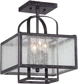 Minka Lavery Semi Flush Mount Ceiling Light 4876-283, Camden Square Glass Lighting Fixture, 4 LT, 72 Watts, Aged Charcoal