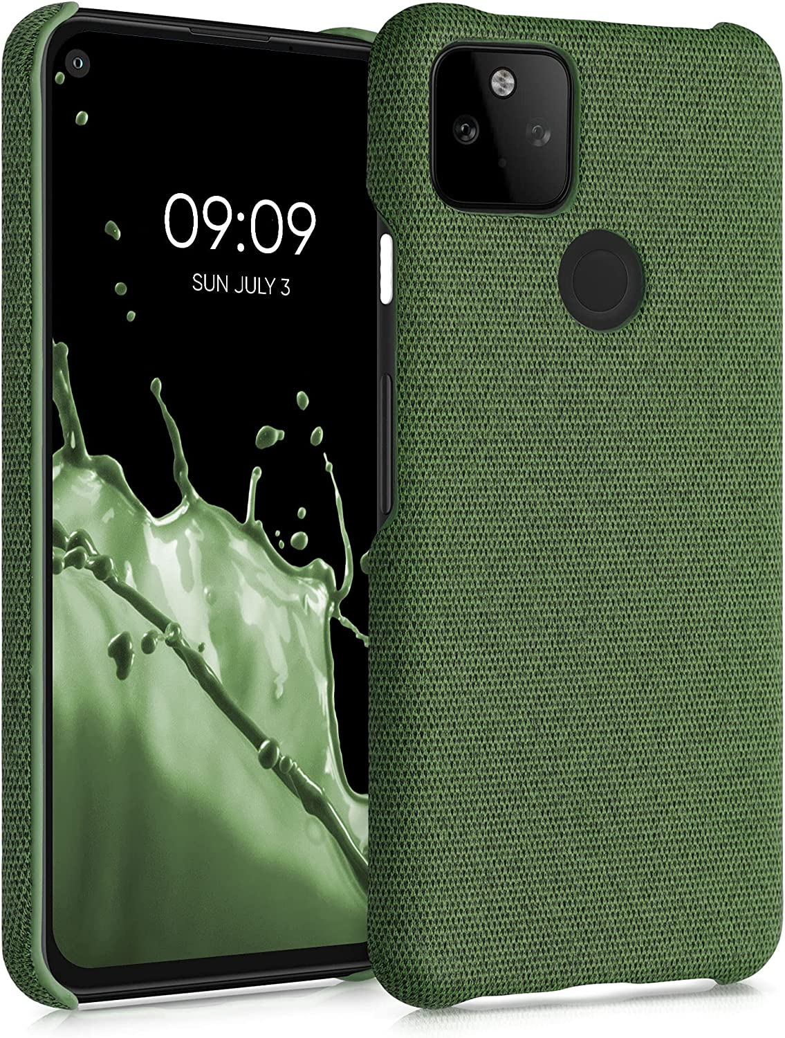 kwmobile Fabric Case Compatible with Google Pixel 5a 5G - Case Hard Protective Phone Cover with Material Texture - Green