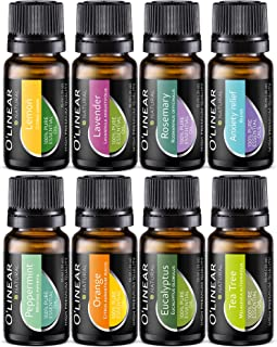 Essential Oil Aromatherapy Set - Pure Therapeutic Grade Oils Lavender, Peppermint, Rosemary, Orange, Tea Tree, Eucalyptus, Lemon, Anxiety Relief Blend Kit for Women & Men