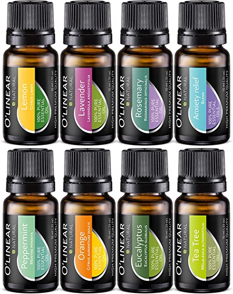 Essential Oil Aromatherapy Set Pure Therapeutic Grade Oils Lavender Peppermint Rosemary Orange Tea Tree Eucalyptus Lemon Anxiety Relief Blend Kit For Women Men