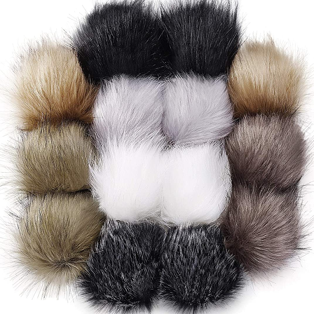 Tatuo Faux Fur Pom Pom Ball DIY Fur Pom Poms for Hats Shoes Scarves Bag Pompoms Keychain Charms Knitting Hat Accessories (Neutral Color, 14)