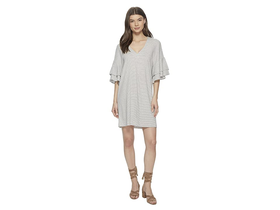 Lucky Brand Stripe Ruffle Mini Dress (White Multi) Women