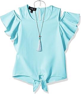 Amy Byer Girls' Big Flutter Sleeve Cold Shoulder Top with Necklace