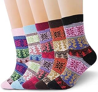 RenFox - Calcetines de invierno para mujer, 5 pares de calcetines de lana, calcetines de punto para mujer, de algodón, tal...