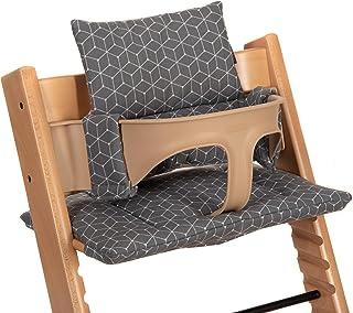 LaLoona Cojín Asiento para Trona Stokke Tripp Trapp 2 piezas/Funda de repuesto, reductor de asiento para trona bebé - Gris