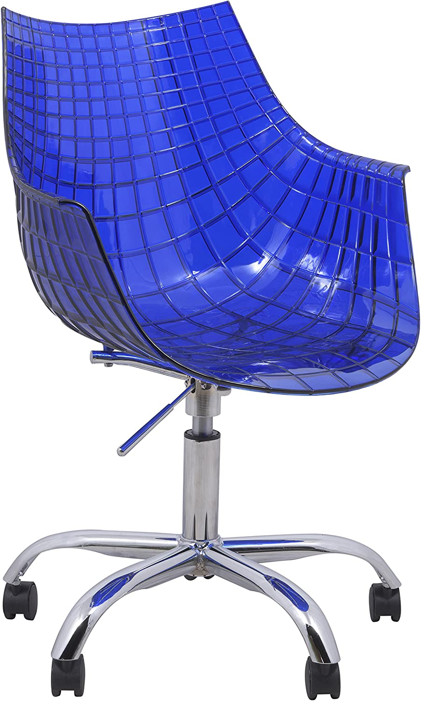 LeisureMod Ashville Modern Adjustable Swivel Arm Chair With Chromed Base (bluee)