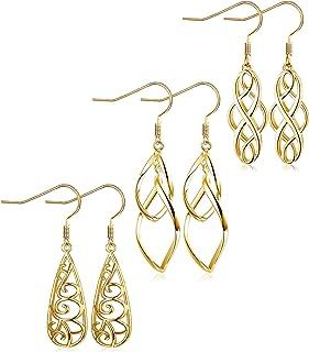 LOLIAS 3 Pairs Celtic Knot Dangle Earrings for Women Silver Twist Wave Filigree Teardrop Fashion Earring Jewelry