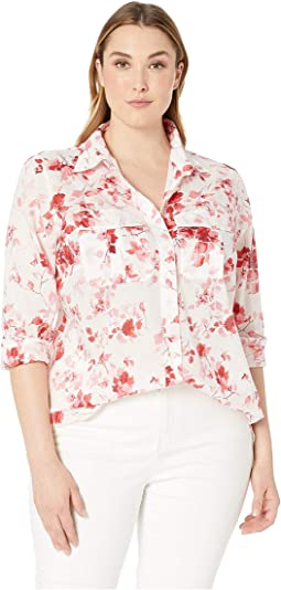 Plus Size Floral Cotton Shirt