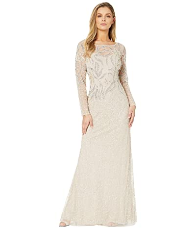 Adrianna Papell Long Sleeve Beaded Evening Gown (Biscotti) Women