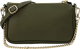 SH Leder Echtleder Umhängetasche Schultertasche Handtaschen Clutch kleine Abendtasche Goldfarbene Metallbeschläge 23x13cm ...