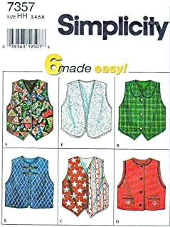 CHILDS AND GIRLS SET OF VESTS SIZE 8-10-12-14 - 6 MADE EASY SIMPLICITY SEWING PATTERN 7357