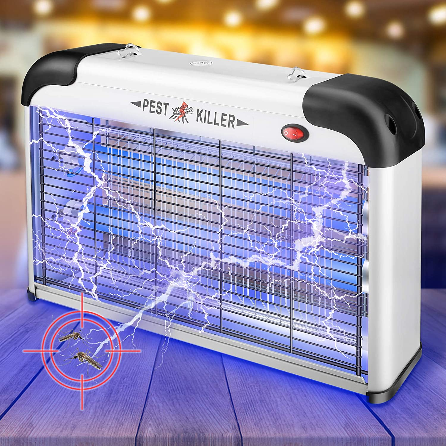 Bug Zapper,Allinall Mosquito Zapper Lamp 20W Indoor Mosquito Trap Fruit Flies Pests Moths Gnat Killer with UV Lamp Insect Fly Traps Light Electric Bug Zapper for Indoor/Outdoor/Home/Kitchen/Patio