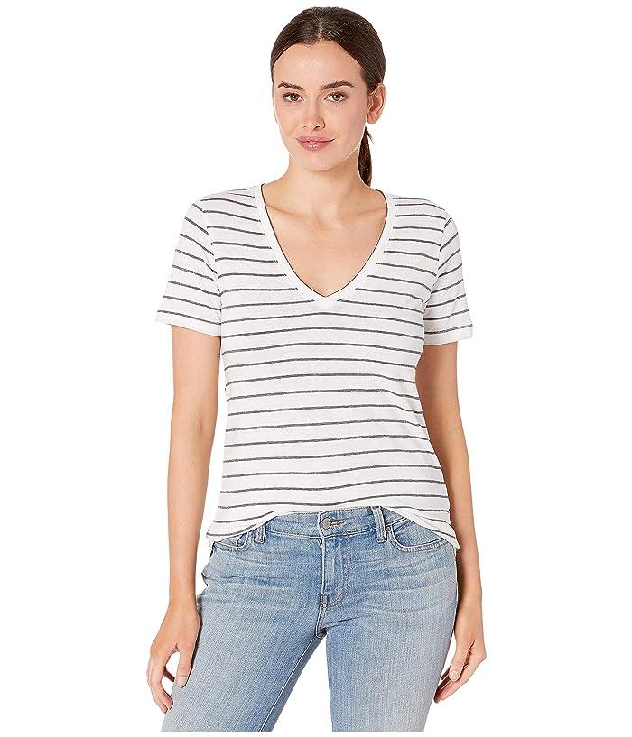Lucky Brand  Stripe Burnout Tee (Black Stripe) Womens Clothing