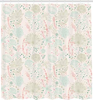 """Ambesonne Floral Shower Curtain, Vintage Soft Floral with Dotted Background Nature Inspiration Image, Cloth Fabric Bathroom Decor Set with Hooks, 84"""" Extra Long, Mint Green"""