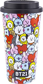 Paladone 5055964736682 Line Friends BT21 Travel koffiemok, geïsoleerde 450 ml Commuter Cup, officieel gelicentieerde BTS M...