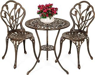 Best Choice Products 3-Piece Outdoor Rust-Resistant Cast Aluminum Patio Bistro Set w/Tulip Design, Antique Finish - Copper