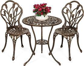 Best Choice Products 3-Piece Outdoor Rust-Resistant Cast Aluminum Patio Bistro Set w/Tulip Design, Copper