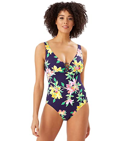 Tommy Bahama Sun Lilies Reversible Lace Back One-Piece