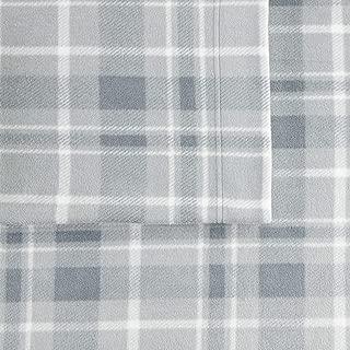 Cuddl Duds Queen Size Fleece Sheet Set (Gray Plaid)