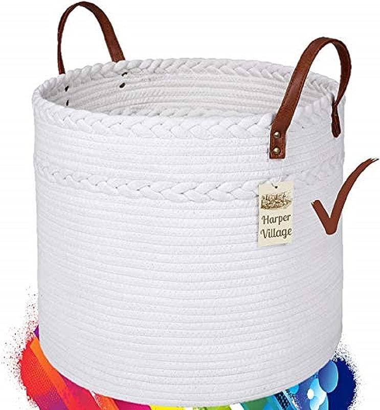 Cotton Rope Basket White 15x17 Woven Baskets With Handles Round Laundry Basket Clean Storage Baskets Fun Toy Storage Soft Blanket Basket