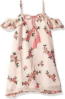 Girls' Little Floral Embroidered Cold Shoulder Dress