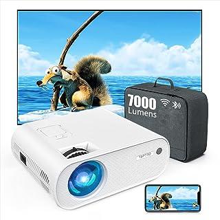 TOPTRO Mini Beamer, 7000 Lumen, WiFi Bluetooth Beamer Projector, Ondersteuning 1080P Full HD, met HiFi-luidspreker, compat...