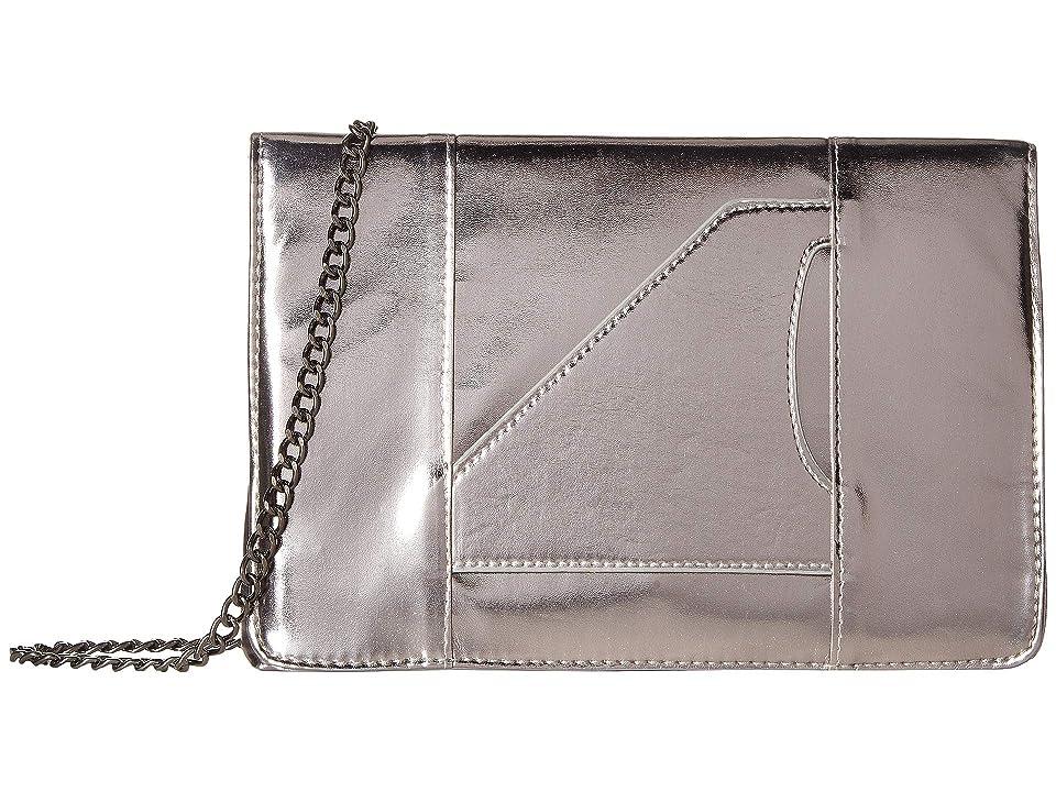 T-Shirt & Jeans Metallic Hand Clutch (Gunmetal) Clutch Handbags, Gray