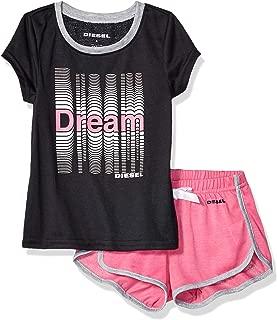 Diesel 女童睡衣 T 恤和短裤睡衣套装