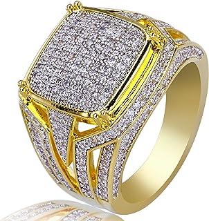 Anello Moca per Uomo con Anello in Oro 18 carati Placcato in Oro 18 carati con Diamante Zirconia cubica