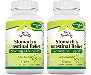 Terry Naturally Stomach & Intestinal Relief (2 Pack) - 75 mg Licorice, 3.5% Glabridin - 60 Vegan Capsules - Soothing Stoma...