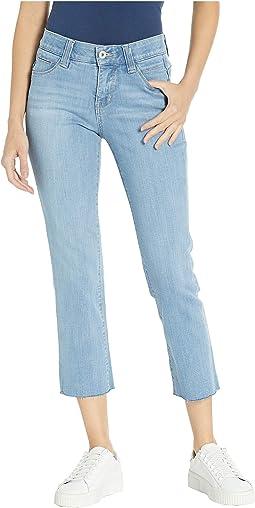 Ruby Straight Denim Crop Pants in Island Blue