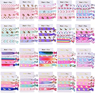 SIQUK 100 Pieces Unicorn Hair Ties Elastic Hair Bands Ponytail Holder Colorful Bracelet Party Favors Gifts Supplies for Girls